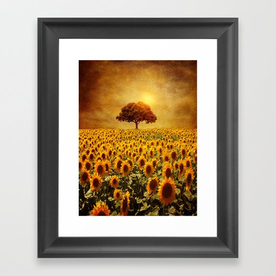 lone tree & sunflowers field (II) Framed Art Print