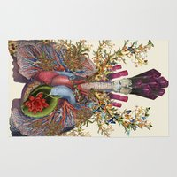 lungs Area & Throw Rugs featuring adore anatomical heart lungs collage by bedelgeuse by bedelgeuse
