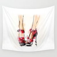 shoes Wall Tapestries featuring Red shoes by tatiana-teni