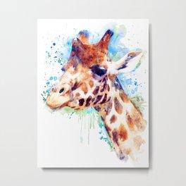 Giraffe Watercolor Portrait Metal Print