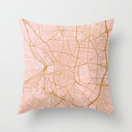 Pink and gold Madrid map, Spain Throw Pillow