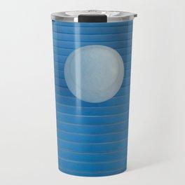 white on blue Travel Mug
