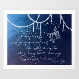 Blue Gardens and Stars Quote Art Print