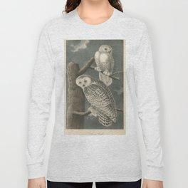 Vintage Illustration of Snowy Owls (1840) Long Sleeve T-shirt