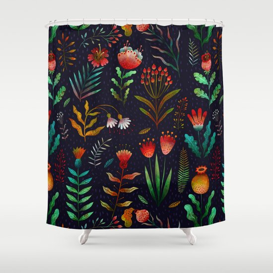 bright flowers shower curtain by oilikki society6