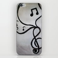 music notes iPhone & iPod Skins featuring Music Notes by S. Vaeth