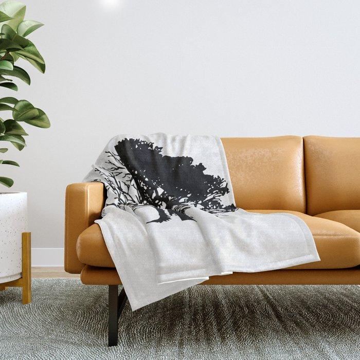 Half Tree Leaves Half No Leaves Art Throw Blanket