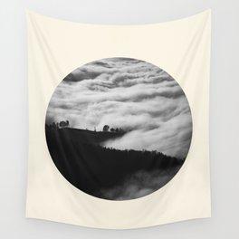 Intense Fog & Mountain Silhouette Black & White Round Photo Wall Tapestry