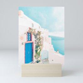 Santorini Greece Blue Door Cozy Photography Mini Art Print
