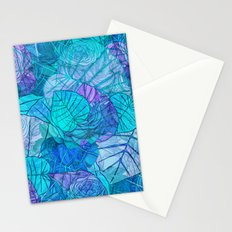Leaves in Rosy Background 3 Stationery Cards