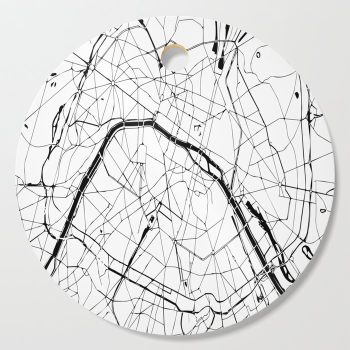 Paris Map Black And White.Paris France Minimal Street Map Black And White Cutting Board By