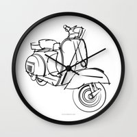 vespa Wall Clocks featuring Vespa by tuditees