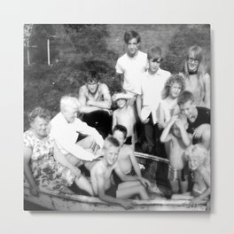 Day at the Lake | Vintage Black and White 1960s Family Photo  Metal Print