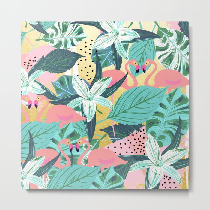 Flamingo Tropical #society6 #decor #buyart Metal Print