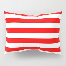 Narrow Horizontal Stripes - White and Red Pillow Sham