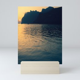 Sunrise Reflected on Tranquil Mediterranean Sea With Rugged Coast and Sailboat Mini Art Print