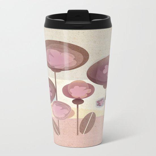 Flowers en Rose Metal Travel Mug