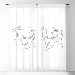 Abstract Faces in One Simple Line Blackout Curtain