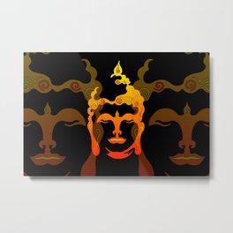 Illustration Buddha Head orange black design Metal Print