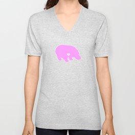 I Love Hippos Cute Hippo Funny Hippopotamus Pink Unisex V-Neck