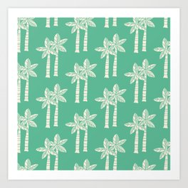 Palm Tree Pattern Mint Green Art Print
