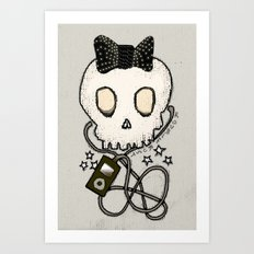 Girly Skull with Black Bow / Die for Music Art Print