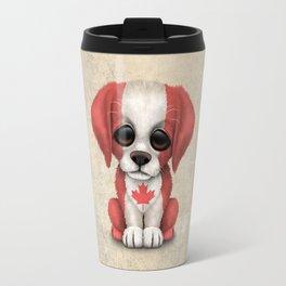 Cute Puppy Dog with flag of Canada Travel Mug