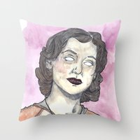 oitnb Throw Pillows featuring Morello OITNB by Ashley Rowe