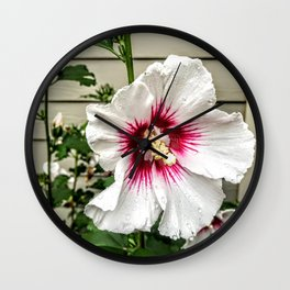 White Red Hibiscus Wall Clock