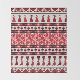African Tribal Pattern No. 85 Throw Blanket