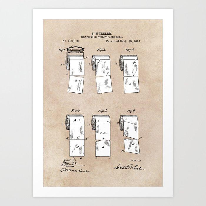 patent - Wheeler - Wrapping or Toilet paper roll - 1891 Kunstdrucke