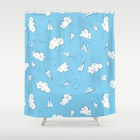 planes Shower Curtains featuring Paper planes by Sil Elorduy