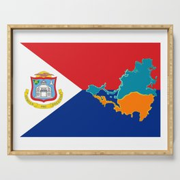 Sint Maarten Flag with Map Serving Tray