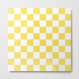 Yellow, Canary: Checkered Pattern Metal Print