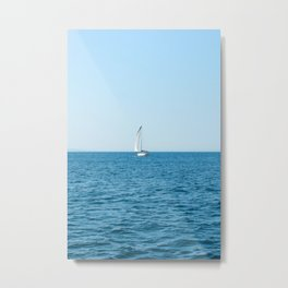 SAILBOAT - IN - VIBRANT - BLUE - HIGH - SEA - PHOTOGRAPHY Metal Print
