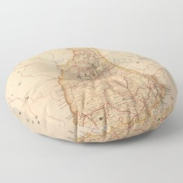 Vintage Map of New Hampshire (1890) Floor Pillow