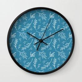 Ocean Blue & White Botanical Pattern Wall Clock