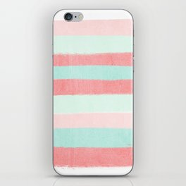 Painterly Stripes abstract trendy colors gender neutral seaside coral tropical minimal iPhone Skin