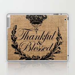 french country jubilee crown thanksgiving fall wreath beige burlap thankful and blessed Laptop & iPad Skin