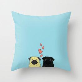 Pugs In Love Blue Throw Pillow