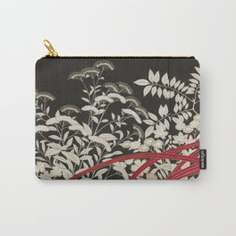Kuro-tomesode with a Pair of Pheasants in Hiding (Japan, untouched kimono detail) Carry-All Pouch