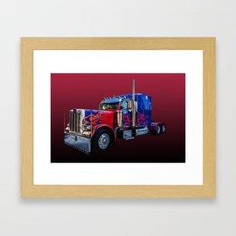 American Truck Red Framed Art Print