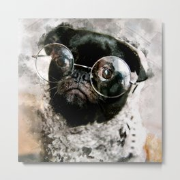 French Bulldog with glasses Metal Print