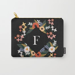 Black Rose Monogram F Carry-All Pouch