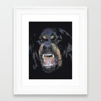 givenchy Framed Art Prints featuring GIVENCHY ROTTWEILER by Hazel By Helin Su
