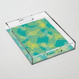 Blue & Yellow Corgi Pattern Acrylic Tray