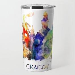 Cracow skyline color Travel Mug