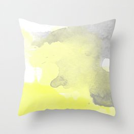 Yellow and Gray Ombre Watercolor  Throw Pillow