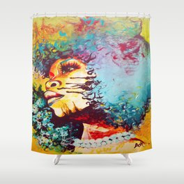 Unstrained Afro Blue Shower Curtain
