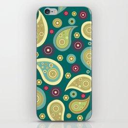 Oriental Persian Paisley, Flowers - Blue Green iPhone Skin